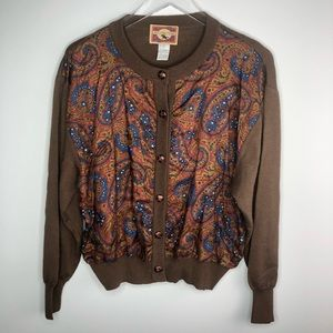JH Collectibles Paisley Wool Blend Sweater Vintage